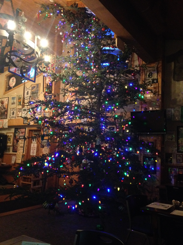 This tree, the largest decorated tree in Alaska, barely fits indoors at Ivory's.