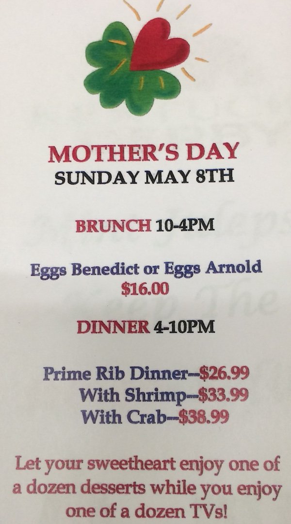 IJ Brunch and Dinner Specials